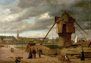Landscape with a Windmill, St Malo, France - James Collinson
