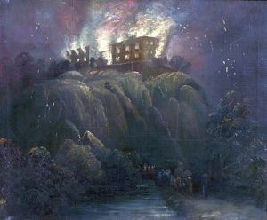 Nottingham Castle on Fire