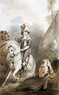 Soldier on a Horse and An Old Woman, by The Burney Family