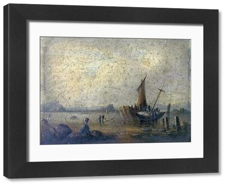 Artist: Clint, George - Title: Coast Scene with Figures and Boats - Date: N/A - Original Medium and Size: Oil on Wood 19.1 x 26.7