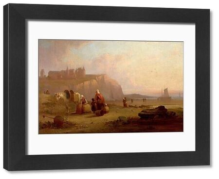 Artist: Bonington, Richard Parkes (imitator of) - Title: Secene on the Coast of Normandy, France (The Old Castle of Dieppe on the Coast (...)) - Date: 1825 - Original Medium and Size: Oil on Canvas 51.4 x 76.5