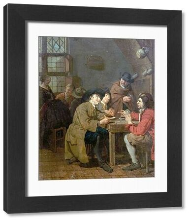Artist: Horemans, Pieter Jacob - Title: Interior, Card Playing - Date: N/A - Original Medium and Size: Oil on Wood 30.5 x 26.4