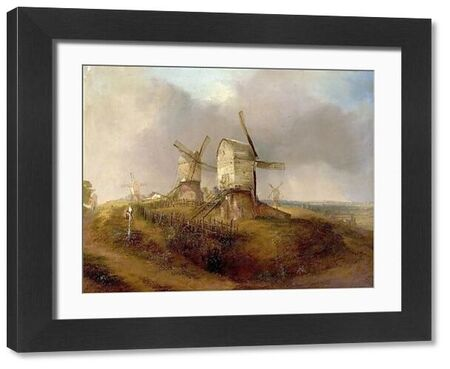 Artist: Smyth, Henry - Title: Old Windmills on Nottingham Forest - Date: c.1830 - Original Medium and Size: Oil on Board 47 x 61.6