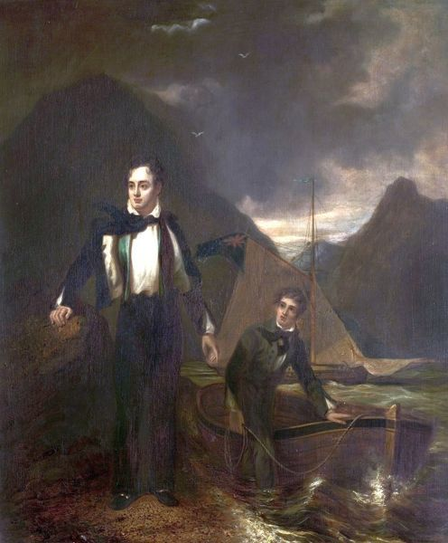 Artist: Sanders, George (after) - Title: 6th Lord Byron (1788-1824, and his Servant Robert Rushton (1793-1833) - Date: N/A - Original Medium and Size: Oil on Canvas 91 x 75