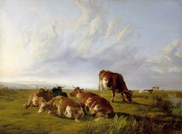 Artist: Cooper, Thomas Sidney - Title: Afternoon in the Meadows - Date: 1861 - Original Medium and Size: Oil on Canvas 76.2 x 109.2