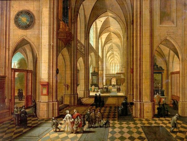 Artist: Neeffs, Peeter the elder & Vrancx, Sebastian - Title: Antwerp Cathedral - Date: N/A - Original Medium and Size: Oil on Wood 29.2 x 38.7