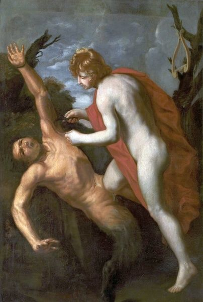 Artist: Unknown Artist - Title: Apollo Flaying Marsyas - Date: N/A - Original Medium and Size: Oil on Canvas 132 x 94