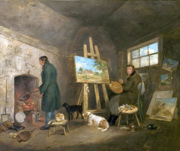 Artist: Morland, George - Title: The Artist in His Studio and His Man Gibbs - Date: 1802 - Original Medium and Size: Oil on Canvas 63.5 x 76.2