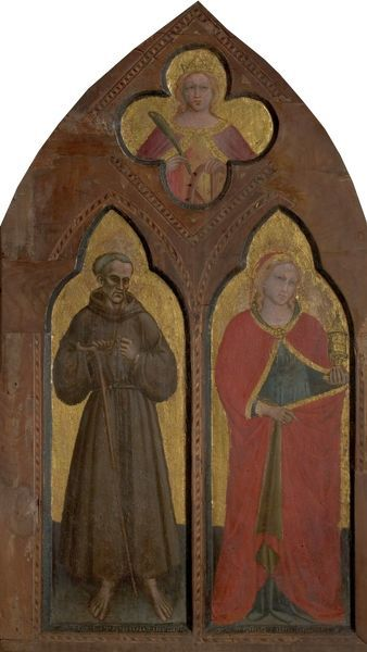 Artist: Spinello Aretino - Title: Blessed Gerard of Villamagna and St Mary Magdalen with St Catherine of Alexandria - Date: 1380-1390 - Original Medium and Size: Tempera & Gold Leaf on Wood 123.8 x 71.1