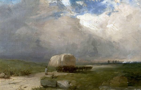 Artist: Dawson, Henry - Title: The Carrier's Wagon - Date: c.1845 - Original Medium and Size: Oil on Canvas 39.4 x 59.7