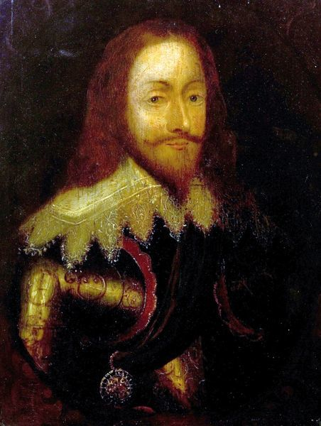 Artist: Dyck, Anthony van (after) - Title: Charles I (1600-1649), IN Armour Wearing the Order of the Thistle - Date: N/A - Original Medium and Size: Oil on Wood 31.8 x 24.1