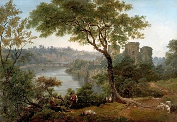 Artist: Glover, John - Title: Chepstow Castle, Monmouthshire - Date: N/A - Original Medium and Size: Oil on Canvas 91.4 x 132.1