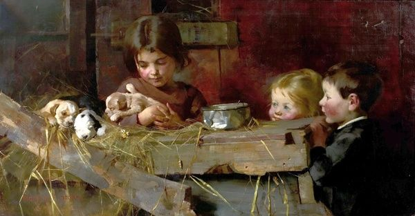 Artist: Stokes, Marianne - Title: Childhood's Treasures - Date: 1886 - Original Medium and Size: Oil on canvas 68.6 x 127