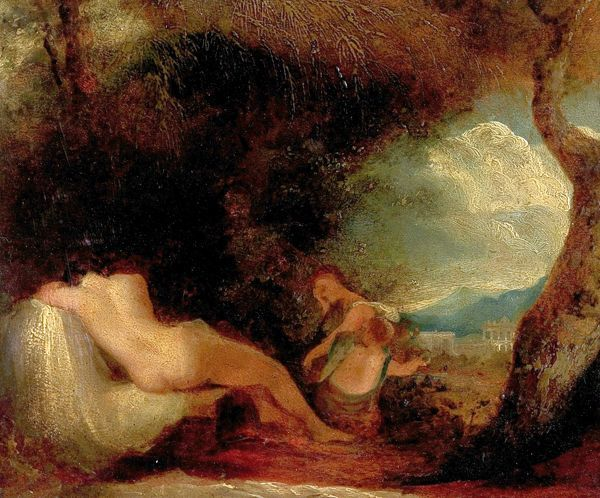 Artist: Frost, William Edward - Title: Classical Subject (Venus, Cupid, and Psyche) - Date: N/A - Original Medium and Size: Oil on Board 17.8 x 20.3