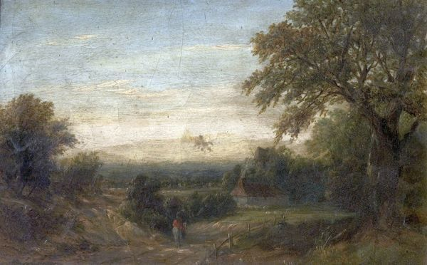 Artist: Vickers, W. - Title: Crossing the Heath, Evening - Date: N/A - Original Medium and Size: Oil on Canvas 20.3 x 30.5