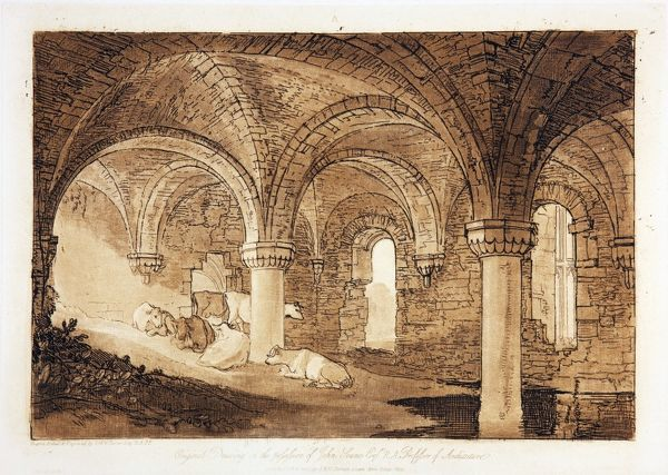 'Crypt of Kirkstall Abbey' from Liber Studiorum, drawn, by J.M.W. Turner