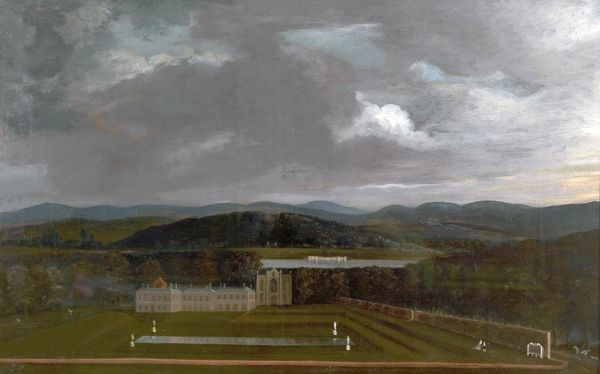 Artist: Byron, Richard - Title: East View of Newstead Abbey, Nottinghamshire and the Great Garden - Date: 1758 - Original Medium and Size: Oil on Canvas 49.5 x 80