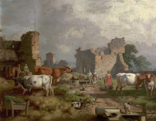 Artist: Malbon, William - Title: Farmyard Scene - Date: N/A - Original Medium and Size: Oil on Wood 40.6 x 50.8