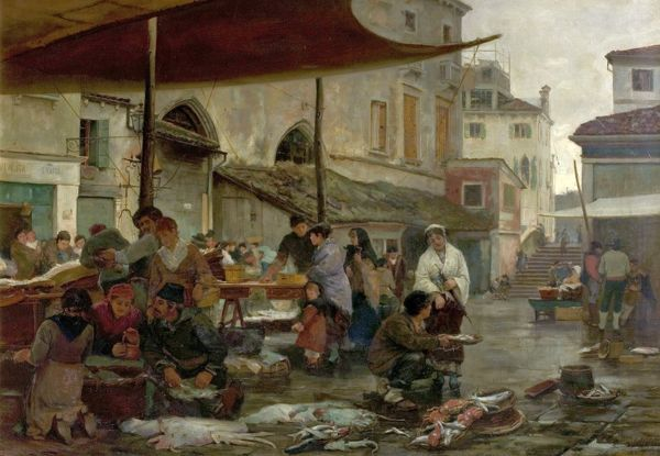 Artist: Jobbins, William H. - Title: The Fish Market, Venice, Italy - Date: 1881 - Original Medium and Size: Oil on Canvas 58.4 x 83.8