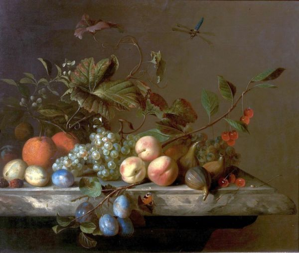 Artist: Van der Meer, Barend - Title: Fruit Piece with Dragonfly - Date: 1692 - Original Medium and Size: Oil on Canvas 64.1 x 75.6