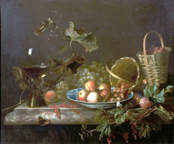 Artist: Van der Meer, Barend - Title: Fruit Piece with Wine Glass - Date: 1692 - Original Medium and Size: Oil on Canvas 64.1 x 75.6