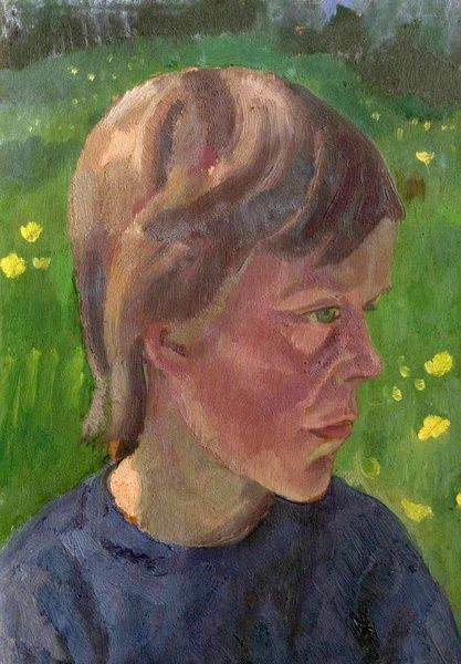 Artist: Lewis, Neville - Title: Girl's Head - Date: 1927 - Original Medium and Size: Oil on Canvas 35.6 x 26.7