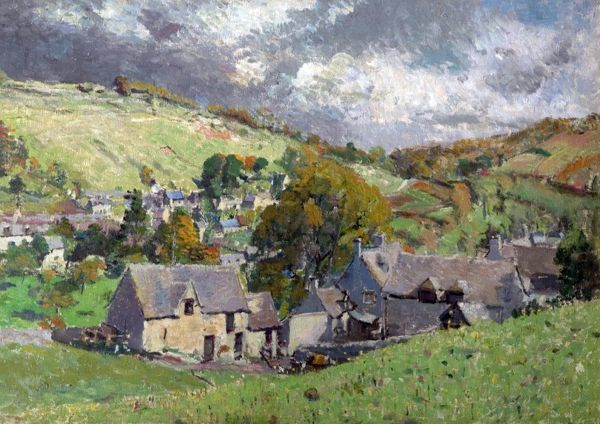 Artist: Pickard, Louise - Title: A Gloucestershire Village - Date: 1919 - Original Medium and Size: Oil on Canvas 51 x 71