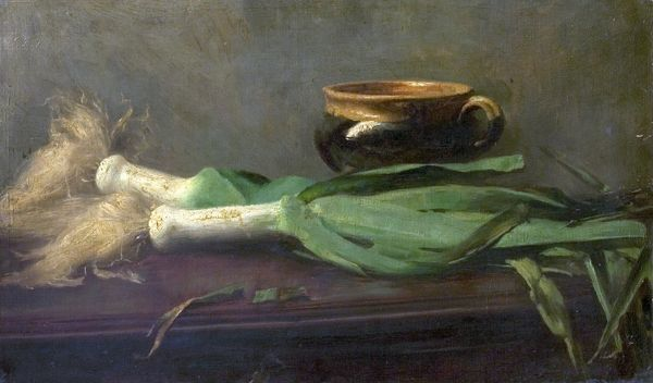 Artist: Gogin, Charles - Title: Leeks - Date: N/A - Original Medium and Size: Oil on Canvas 38.7 x 63.5