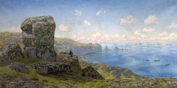 Artist: Brett, John - Title: Golden Prospects, St Catherine's Well, Land's End, Cornwall - Date: 1881 - Original Medium and Size: Oil on Canvas 106.7 x 214