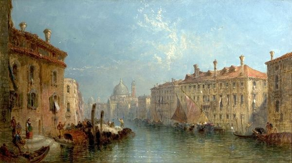 Artist: Vivian, Jane - Title: Grand Canal, Venice, Italy - Date: c.1875 - Original Medium and Size: Oil on Canvas 45 x 80