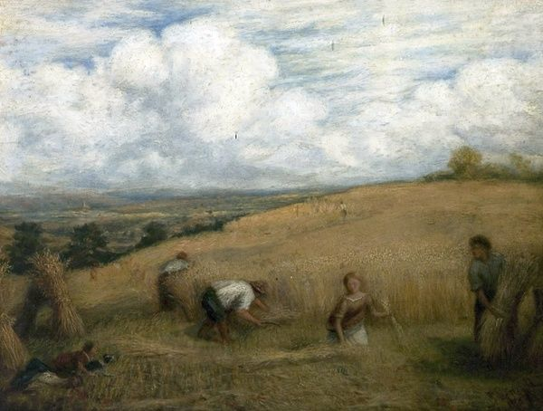 Artist: Linnell, John - Title: Harvesting - Date: 1857 - Original Medium and Size: Oil on Canvas 35.6 x 45.7