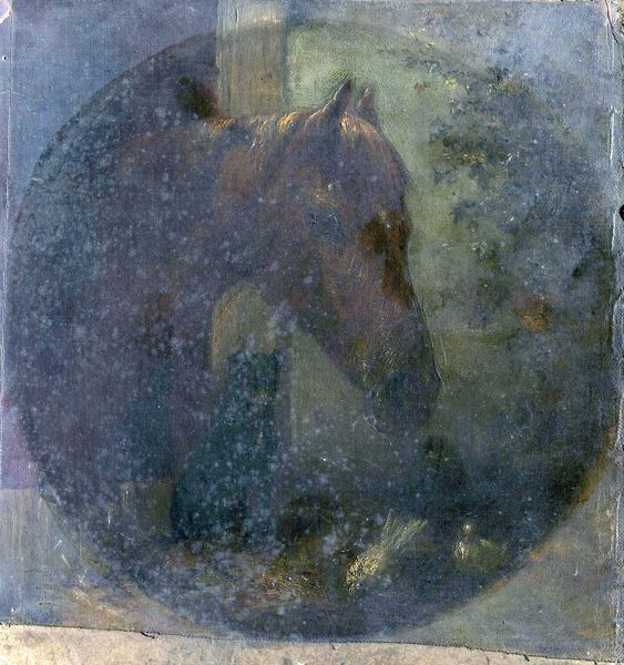 Artist: Unknown Artist - Title: Head of a Horse - Date: N/A - Original Medium and Size: Oil on Wood 26.5 x 25