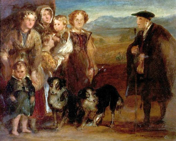 Artist: Wilkie, David - Title: A Highland Family - Date: 1823 - Original Medium and Size: Oil on Wood 18.4 x 22.9