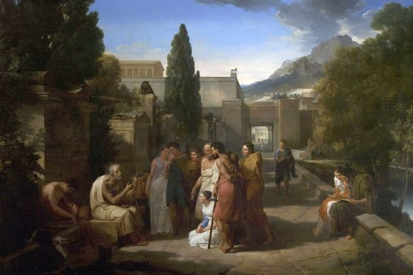 Artist: Lethiere, Guillaume - Title: Homer Singing His Lliad at the Gate of Athens - Date: 1811 - Original Medium and Size: Oil on Canvas 198.1 x 246.4