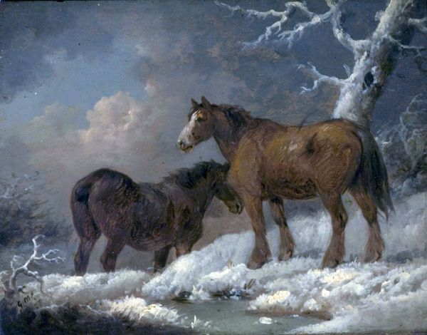 Artist: Morland, George - Title: Two Horses in the Snow - Date: N/A - Original Medium and Size: Oil on Wood 17.8 x 23.5