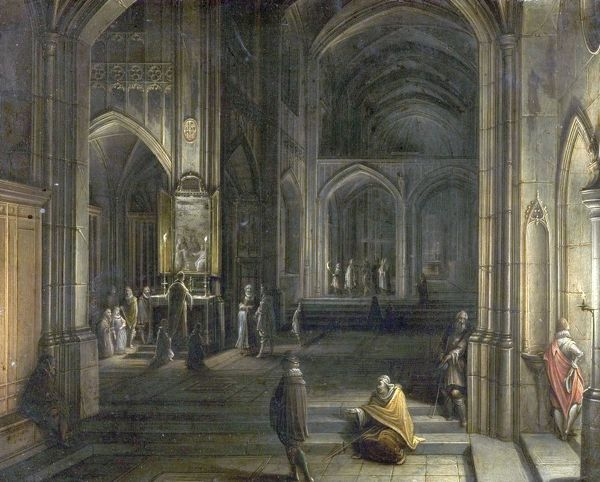 Artist: Steenwijck, Hendrick van the younger - Title: Interior of a Church - Date: 1620 - Original Medium and Size: Oil on Wood 21.6 x 26.4