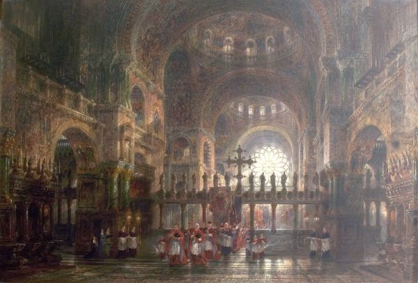 Artist: Bayliss, Wyke - Title: Interior of St Mark's Basilica, Venice, Italy - Date: 1877 - Original Medium and Size: Oil on Canvas 110.2 x 161