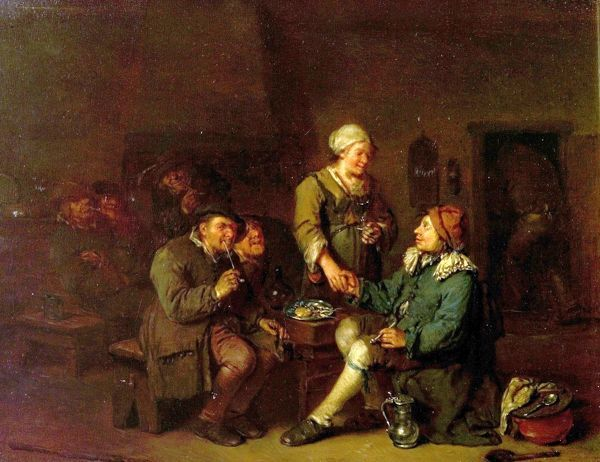 Artist: Heemskerck, Egbert van the elder - Title: Interior of a Tavern with Smokers - Date: N/A - Original Medium and Size: Oil on Wood 25.4 x 32.8