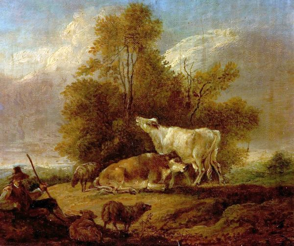 Artist: Towne, Charles - Title: Landscape with Cattle and Figures - Date: N/A - Original Medium and Size: Oil on Wood 17.1 x 22.2