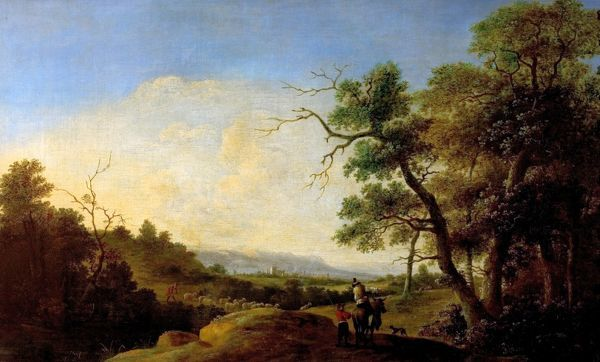 Artist: Both, Jan & Andries Dirksz - Title: Landscape with Figures - Date: N/A - Original Medium and Size: Oil on Canvas 51.4 x 85.1
