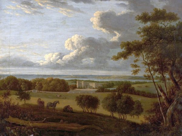 Artist: British (English) School - Title: Landscape near the Coast (view of a mansion with the sea in the distance) - Date: N/A - Original Medium and Size: Oil on Canvas 43.2 x 55.9