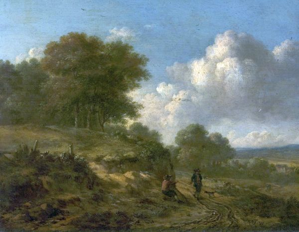Artist: Wijnants, Jan - Title: Landscape with Peasants and a Dog - Date: N/A - Original Medium and Size: Oil on Wood 20.6 x 27.3