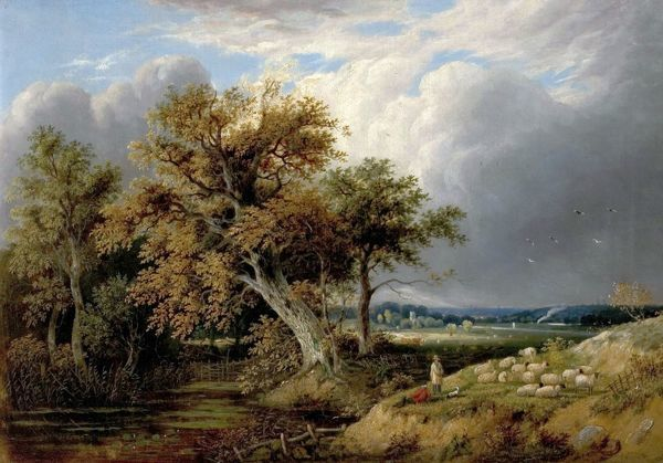 Artist: Crome, William Henry - Title: Landscape with Trees and Sheep - Date: N/A - Original Medium and Size: Oil on Canvas 43.2 x 61