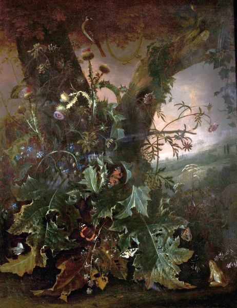 Artist: Withoos, Matthias - Title: Still Life with Frog and Goldfinch (Thistles and Butterflies) - Date: N/A - Original Medium and Size: Oil on Canvas 85 x 67