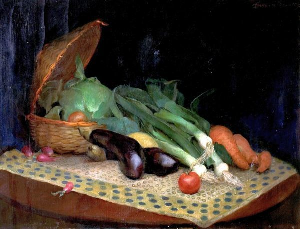 Artist: Maurice, Constance - Title: Still Life (Vegetables) - Date: N/A - Original Medium and Size: Oil on Canvas 55.9 x 76.2