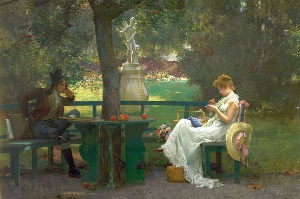 Artist: Stone, Marcus C. - Title: In Love - Date: 1888 - Original Medium and Size: Oil on Canvas 111.8 x 167.7