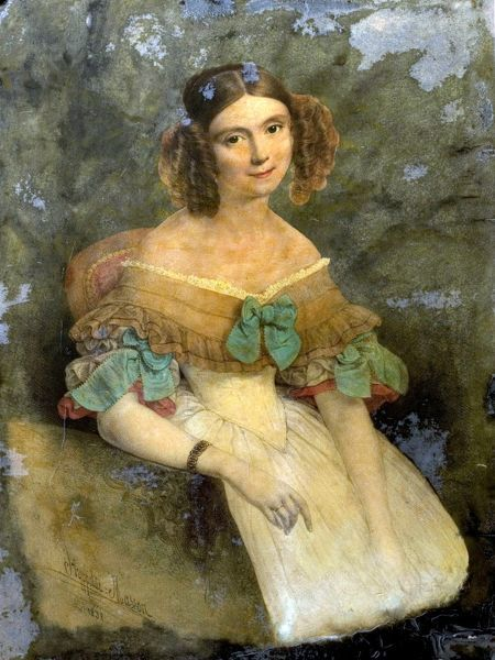 Artist: Masson, Hippolyte - Title: Marguerite, Countess of Blessington (1789-1849) - Date: 1838 - Original Medium and Size: Oil on Glass 35.5 x 26.5