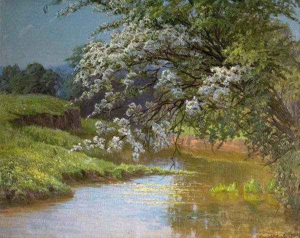 Artist: Cooke, Ernest Owen - Title: May Blossom - Date: 1910 - Original Medium and Size: Oil on Canvas 77.5 x 102.9