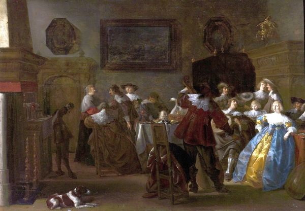 Artist: Palamedesz., Anthonie - Title: Merry Company (Interior with Cavaliers and Ladies) - Date: 1630's - Original Medium and Size: Oil on Wood 59.7 x 87.6