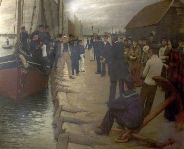 Artist: La Thangue, Henry Herbert - Title: A Mission to Seamen - Date: 1891 - Original Medium and Size: Oil on Canvas 180.3 x 235